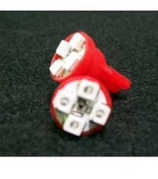 Bombilla T10 W5W 4 Led Rojo Interior Freno trasero Marcador Coche Roja