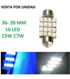 BOMBILLA FESTOON 39MM 16 LED C5W C7W BLANCO O AZUL