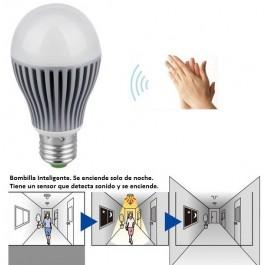 BOMBILLA LED INTELIGENTE! Se enciende cuando no hay luz y hay ruido.