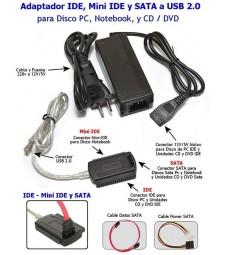 KIT COMPLETO IDE SATA A USB PARA DISCO DURO LECTORA GRABADORA