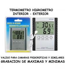 Termómetro Higrómetro Sonda Registro de Máximas y Mínimas Temperatura