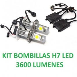 KIT BOMBILLAS H7 LED 3600 LUMENES