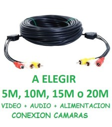 CABLE ALARGADOR RCA AUDIO Y VIDEO + 12V 5M 10M 15M 20M CONEXION CAMARA