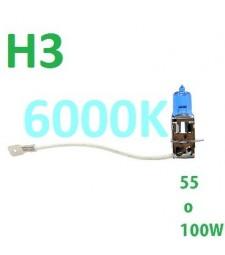 Bombilla H3 Halógena Efecto Xenon coche niebla larga 6000K 55W - 100W