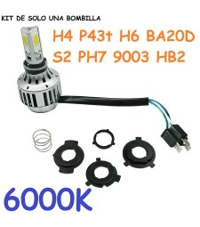Kit de Led Bombillas H4 H6 Ba20d ph7 Casquillo Europeo universal Moto