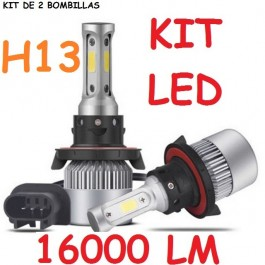KIT H13 LED 16000 LUMENES 12 24V COCHE MOTO CAMION FURGONETA FARO