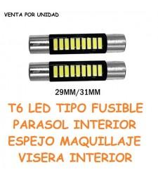 Bombilla Festoon T6 9 Led Coche Tipo Fusible Espejo Cortesia Parasol
