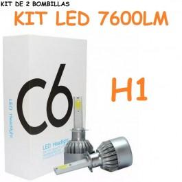 KIT DE 2 BOMBILLAS LED CERAMICA H1 FOCO PRINCIPAL 7600 LUMENES