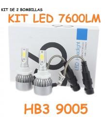 Kit HB3 H10 9005 HIR1 9011 Led 7600 Lumen 12V - 24V Coche Camión Cruce