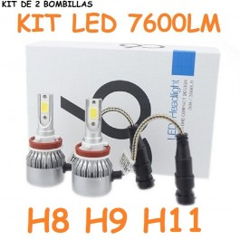 KIT DE 2 BOMBILLAS LED CERAMICA H8 H9 H11 H16 FOCO PRINCIPAL 7600 LUMENES