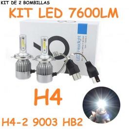 KIT 2 BOMBILLAS LED CERAMICA H4 9003 HB2 FOCO PRINCIPAL 7600 LUMENES