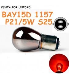 Bombilla Cromada P21/5W S25 BAY15d 1157 Halógena Rojo Roja Coche Moto