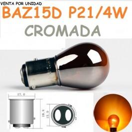 BOMBILLA HALOGENA P21/4W S25 BAZ15d 7225 AMBAR CROMADA