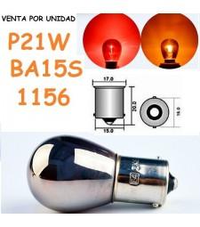 Bombilla Cromada S25 BA15s P21W 1156 21W Halógena Rojo o Naranja Coche