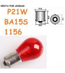 BOMBILLA HALOGENA S25 BA15s P21W 1156 21 W ROJA