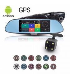 "GPS PANTALLA 7"" ANDROID RETROVISOR 3G WIFI CAMARAS COCHE CAJA NEGRA"