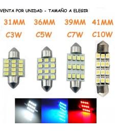 Festoon 12 Led C3W C5W C7W C10W Luz Techo Maletero Coche 31/36/39/41mm