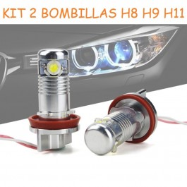KIT ANGEL EYES BMW OJOS DE ANGEL O ANTINIEBLA H8 H9 H11 12W 900LM