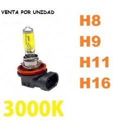 Bombilla Halógena H8 H9 H11 H16 Amarilla 3000K Cruce Larga Coche