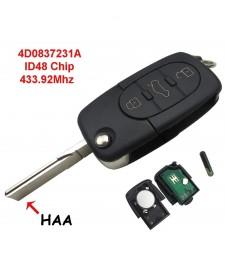 Llave Completa Audi 3 Botones 433.92mhz 4D0837231A Seat Skoda Vw Ref.6