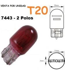Bombilla Halógena T20 W21/5W 7443 580 Roja Posición y Freno Coche