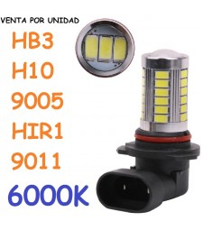 Bombilla HB3 H10 9005 HIR1 9011 33 Led Luz Blanca Anti Niebla 6000K
