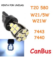Bombilla Led T20 W21/5W 7443 580 7440 W21W CanBus 21 Led