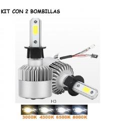 Kit H3 de Led 16000 Lumen 12V - 24V Coche Moto Camión Cruce Carretera