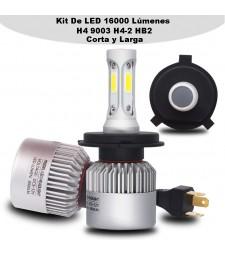 Kit H4 9003 hb2 Led 16000 Lumen 12V - 24V Coche Camión Cruce Carretera