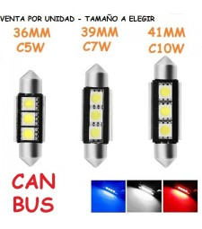 Bombilla Festoon 3 Led C5W C7W C10W CanBus Luz Techo Matrícula Coche