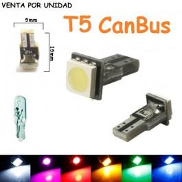 Bombilla Led T5 CanBus SMD W3W W1.2W W2.3W Marcador Cuadro Coche Moto