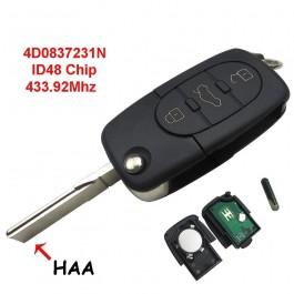 Llave Completa Audi 3 Boton 433.92mhz 4DO837231N Seat Skoda Vw Ref. 17