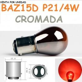 Bombilla Halógena P21/4W S25 BAZ15d 7225 Roja Cromada