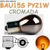 Bombilla Halógena PY21W S25 BAU15S 581 Ámbar Cromada 12V21W