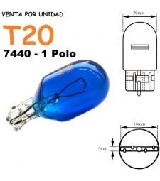 Bombilla Halógena T20 582 7440 W21W Azul 8500k Posición Niebla coche