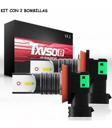 Kit H8 H9 H11 Led 26000 Lumen 12V 24V Luz Cruce y Largas Sin Ventilador