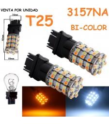 Bombilla Led T25 P27/7W P27/5W 3157 Ámbar y Blanco 60 Led Cuña Grande