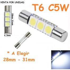 Bombilla Led T6 Tipo Fusible Espejo Parasol Luz Cortesía C5W