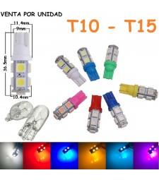 Bombilla T10 W5W 9 Led Smd 5050 Luz Posición Interior Matrícula Coche