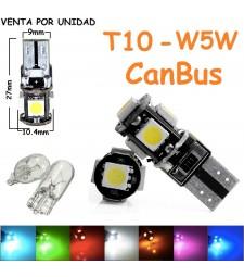 Bombilla T10 W5W 5 Led Canbus Luz de Posición Interior Matrícula Coche