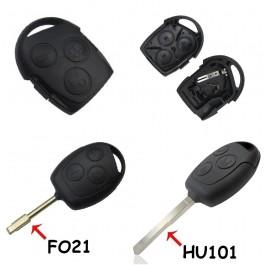 Carcasa Llave Ford 3 Botones con Espadín FO21 o HU101 Ref. 117