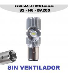 Bombilla Led BA20D H6 Luz Blanca Moto Quad 2400LM 20W Corta y Larga