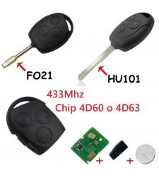 Llave Completa Ford 3 Botones 433Mhz 4d60 o 4d63 Ref. 7