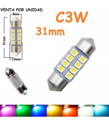 Bombilla Festoon C3W 31mm 8 Led Smd 1210 Luz Interior Matrícula Coche