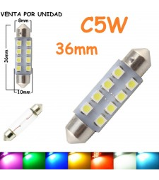 Bombilla Festoon C5W 36mm 8 Led Smd 1210 Luz Interior Matrícula Coche