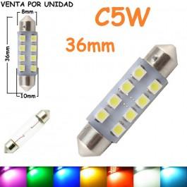 Bombilla Festoon C5W 36mm 8 Led Smd 1210 Luz Interior Matrícula Coche