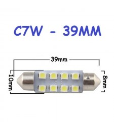 Bombilla Festoon C7W 39mm 8 Led Smd 1210 Luz Interior Matrícula Coche