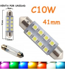 Bombilla Festoon C10W 41mm 8 Led Smd 1210 Luz Maletero Matrícula Coche