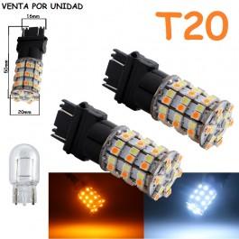 Bombilla Led T20 W21W W21/5W 7443 580 Ámbar y Blanco 60 Led Cuña Grande