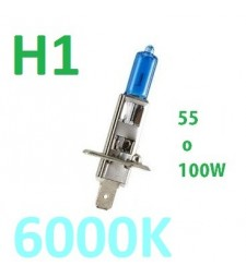 Bombilla H1 Halógena Efecto Xenon coche cruce larga 6000K 55W - 100W